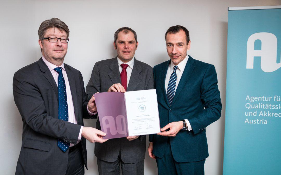 Lauder Business School has been certified by the AQ Austria
