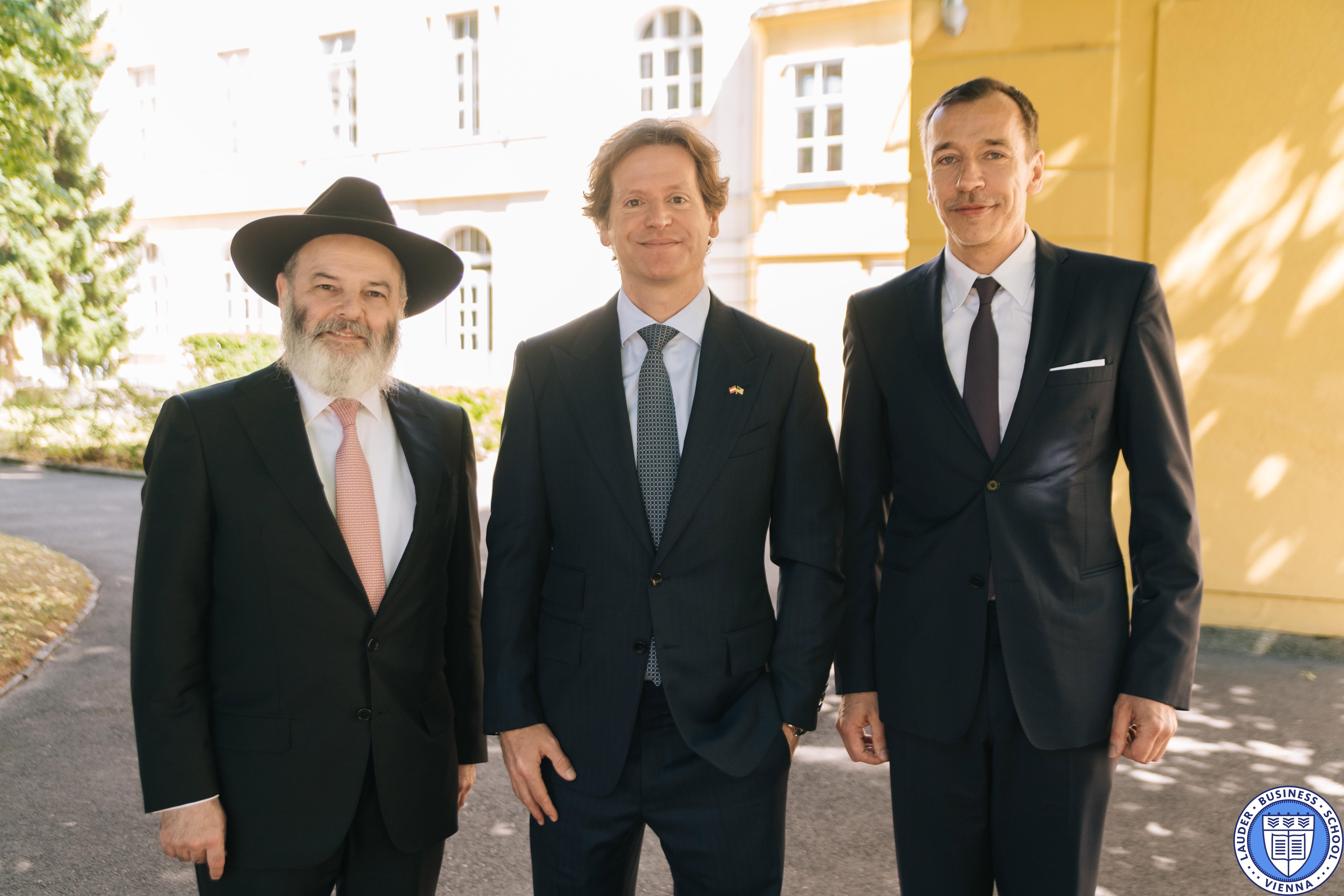 His Excellency Trevor D. Traina, US Ambassador to Austria (middle), LBS Vice President Prof. Jacob I. Biderman (left), LBS Executive Director Mr. Alexander Zirkler (right)